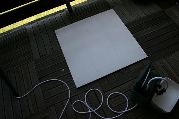 Peinture planche bois au rouleau peinture