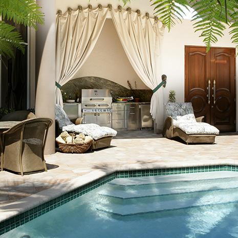 cuisine d'été extérieure piscine