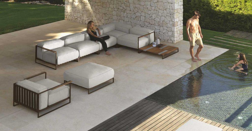 salon de jardin design piscine